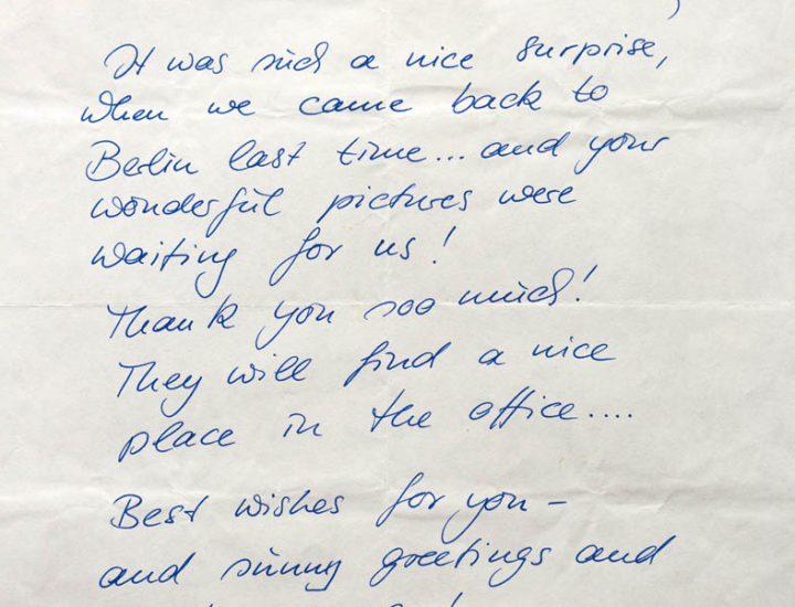 Il mio tempo a Berlino e la lettera di Wim & Donata Wenders