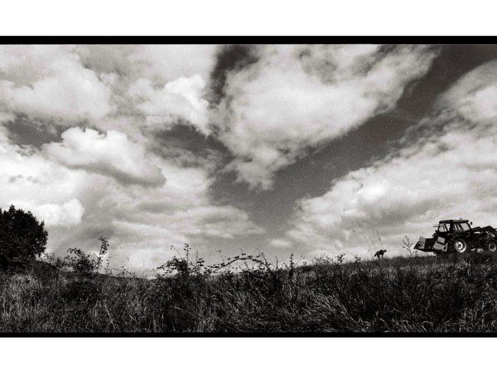 Trattore, campi e cielo plumbeo